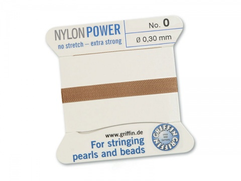 Griffin Nylon Power Beading Thread & Needle ~ Size 0 ~ Beige