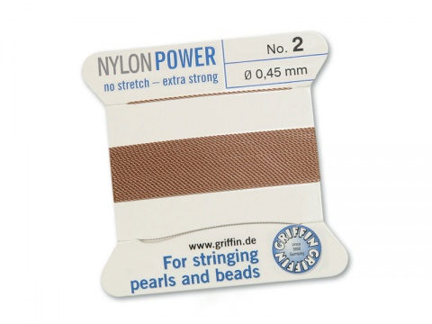 Griffin Nylon Power Beading Thread & Needle ~ Size 2 ~ Beige