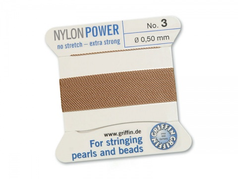 Griffin Nylon Power Beading Thread & Needle ~ Size 3 ~ Beige