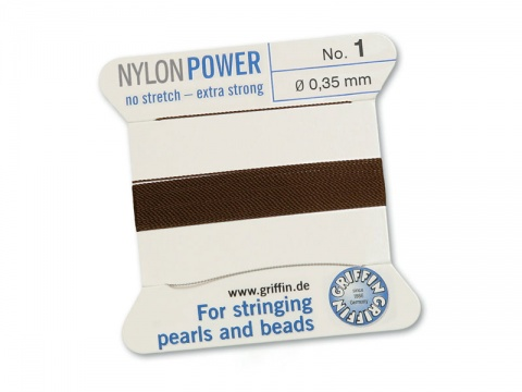 Griffin Nylon Power Beading Thread & Needle ~ Size 1 ~ Brown
