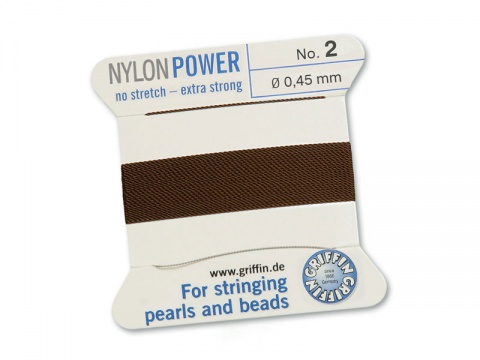 Griffin Nylon Power Beading Thread & Needle ~ Size 2 ~ Brown