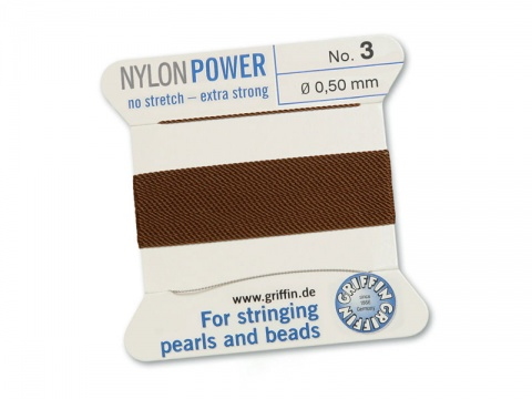 Griffin Nylon Power Beading Thread & Needle ~ Size 3 ~ Brown