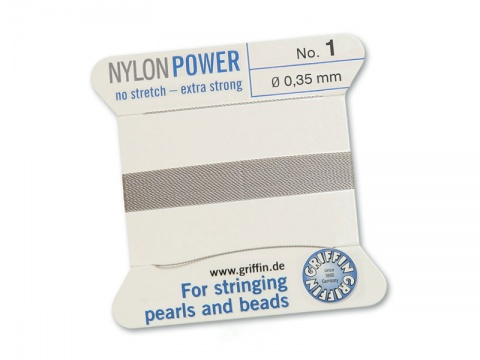 Griffin Nylon Power Beading Thread & Needle ~ Size 1 ~ Grey