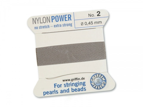 Griffin Nylon Power Beading Thread & Needle ~ Size 2 ~ Grey