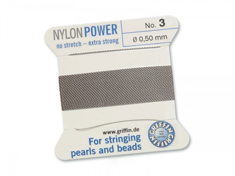 Griffin Nylon Power Beading Thread & Needle ~ Size 3 ~ Grey