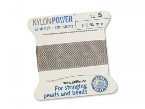 Griffin Nylon Power Beading Thread & Needle ~ Size 5 ~ Grey