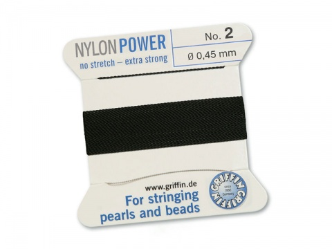 Griffin Nylon Power Beading Thread & Needle ~ Size 2 ~ Black