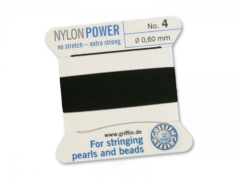 Griffin Nylon Power Beading Thread & Needle ~ Size 4 ~ Black