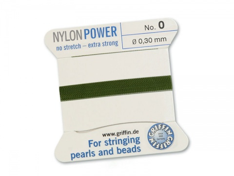Griffin Nylon Power Beading Thread & Needle ~ Size 0 ~ Olive