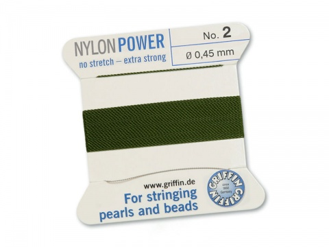 Griffin Nylon Power Beading Thread & Needle ~ Size 2 ~ Olive
