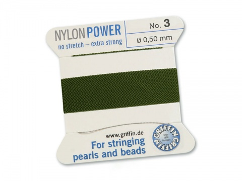 Griffin Nylon Power Beading Thread & Needle ~ Size 3 ~ Olive
