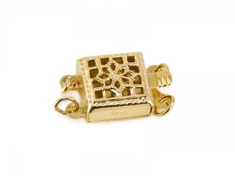 Gold Filled Square Filigree Clasp 8.5mm - 2 Row