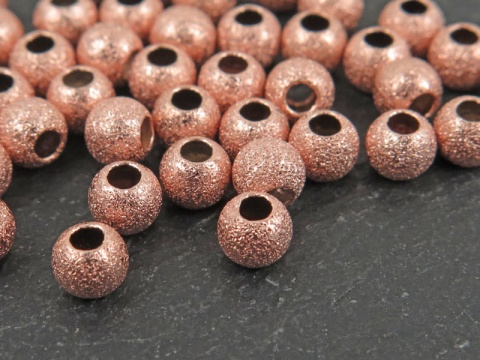 Rose Gold Vermeil Stardust Round Bead 4mm ~ Pack of 10