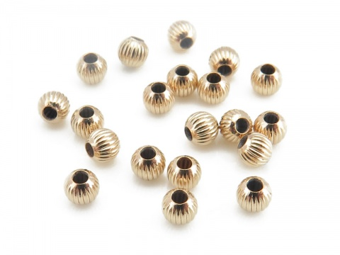 Gold Filled Corrugated Bead 2mm ~ Pack of 10