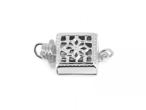 Sterling Silver Filigree Square Clasp 8.5mm