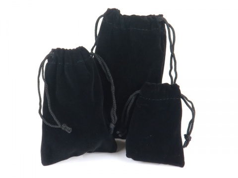 Black Flocked Pouch ~ Various Sizes
