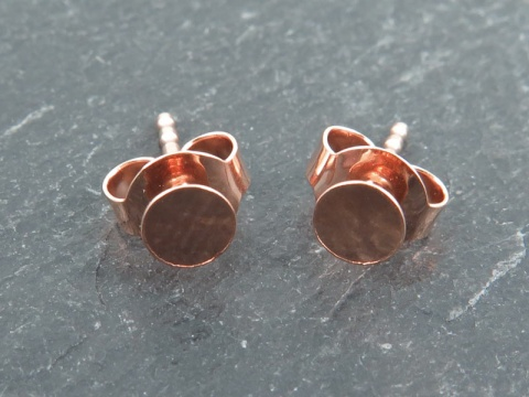 Rose Gold Vermeil Ear Post with Flat Pad and Back 4mm ~ PAIR