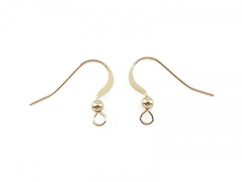 Gold Filled Flat Ear Wire with Bead ~ PAIR