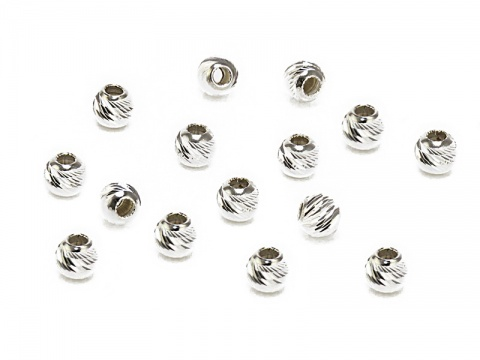 Sterling Silver Multi Cut Bead 3mm ~ Pack of 10