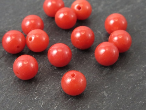 Red Coral Round Bead ~ Half Drilled ~ Various Sizes