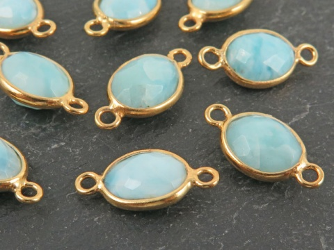 Gold Vermeil Larimar Oval Connector 14mm