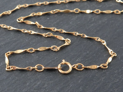 Gold Filled Twisted Bar Chain Necklace with Spring Clasp ~ 18''