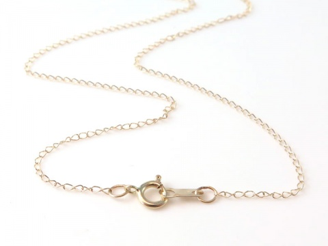 14K Gold Trace Chain Necklace with Spring Clasp ~ 18''