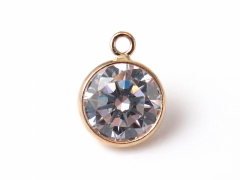 14K Gold White Cubic Zirconia Charm 6mm