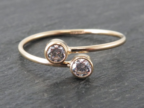 Gold Filled Adjustable Ring with 3mm White CZ ~ Size L