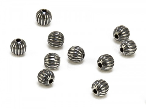 Sterling Silver Oxidised Corrugated Bead 3mm ~ Pack of 10