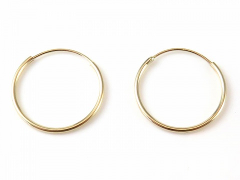 14K Gold Ear Hoops 16mm ~ PAIR