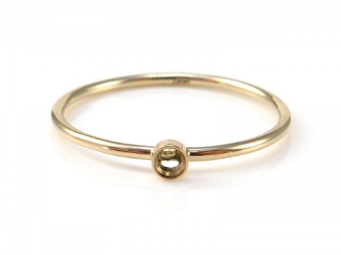 14K Gold Bezel Ring 2mm ~ Size J