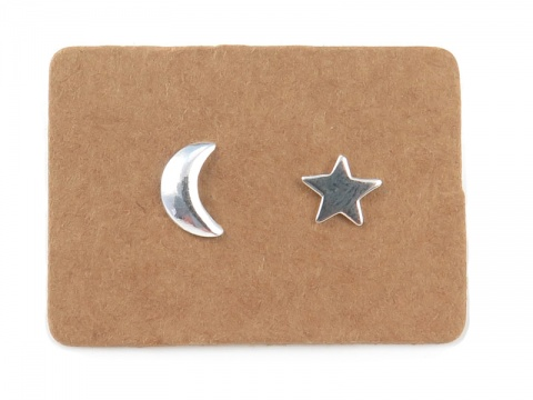 Sterling Silver Moon and Star Studs  ~ PAIR
