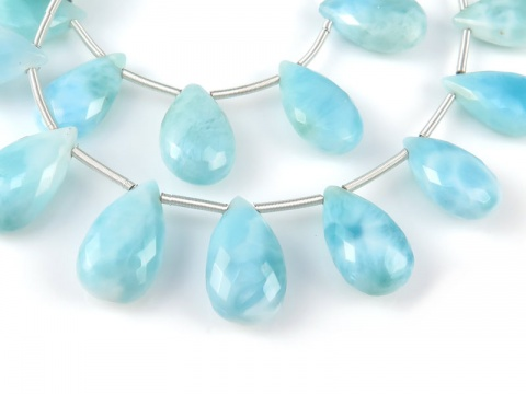 AA Larimar Faceted Pear Briolettes 10.5-13.5mm ~ 8'' Strand
