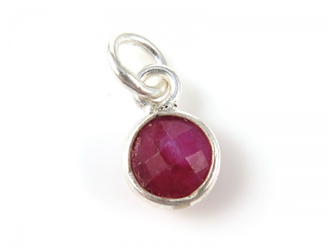 Sterling Silver Ruby Round Charm 6mm