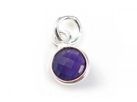 Sterling Silver Amethyst Round Charm 6mm