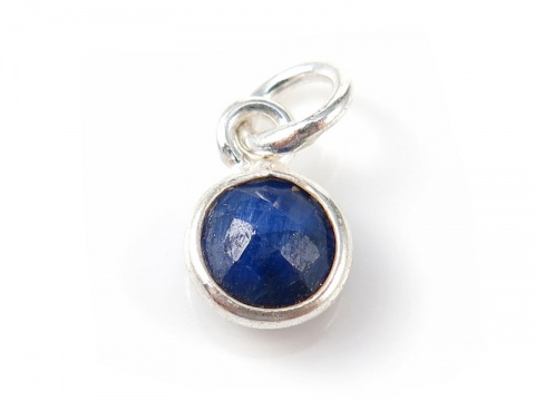 Sterling Silver Sapphire Round Charm 6mm