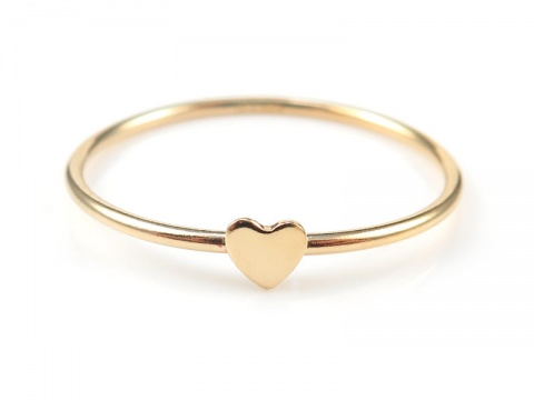 Gold Filled Stacking Ring with Heart ~ Size N