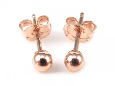 Rose Gold Filled Ball Ear Studs 4mm ~ PAIR