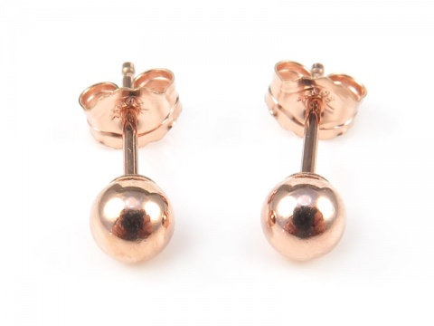 Rose Gold Filled Ball Ear Studs 3mm ~ PAIR