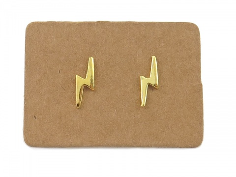 Gold Plated Sterling Silver Lightning Bolt Ear Studs ~ PAIR