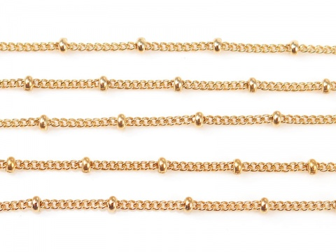 Gold Filled Satellite Chain 1.5 x 1.2mm (10mm ball spacing) ~ by the Foot