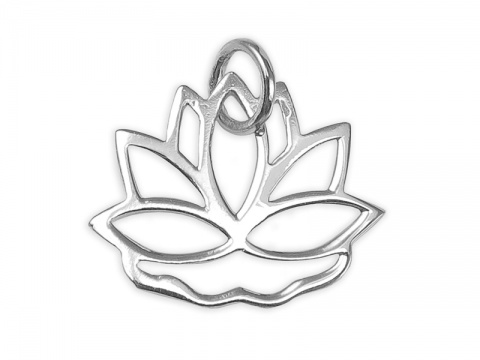 Sterling Silver Lotus Flower Pendant 13mm