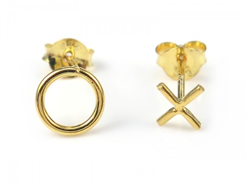 Gold Plated Sterling Silver Noughts & Crosses Ear Studs ~ PAIR