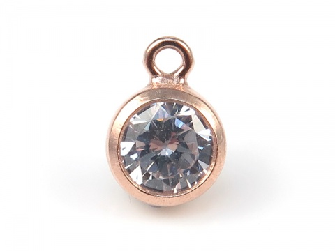 Cubic Zirconia Rose Gold Filled Charm ~ Brilliant White ~ 6.5mm
