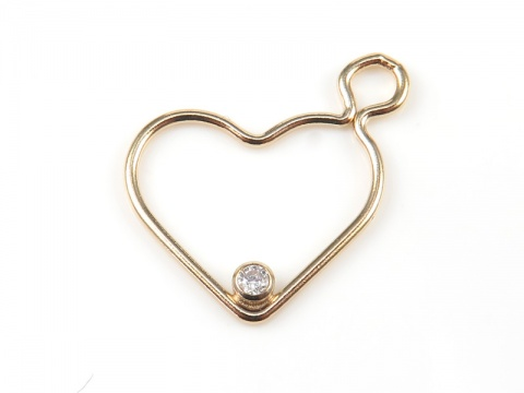Gold Filled Heart Pendant with CZ (Right) 16mm