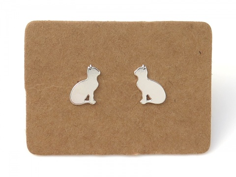 Sterling Silver Cat Ear Studs  ~ PAIR