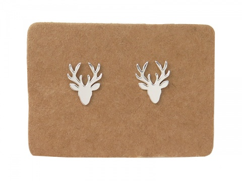 Sterling Silver Stag's Head Ear Studs  ~ PAIR