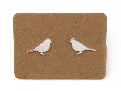 Sterling Silver Sparrow Ear Studs  ~ PAIR
