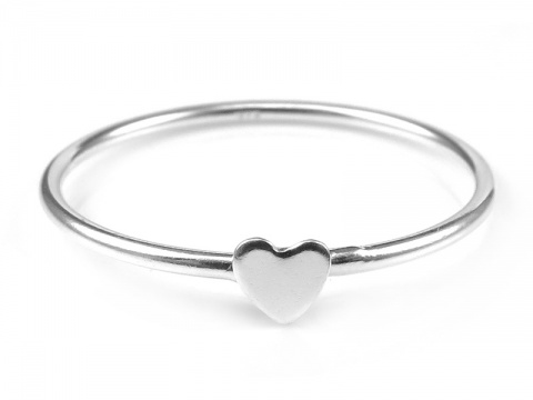Sterling Silver Stacking Ring with Heart ~ Size J